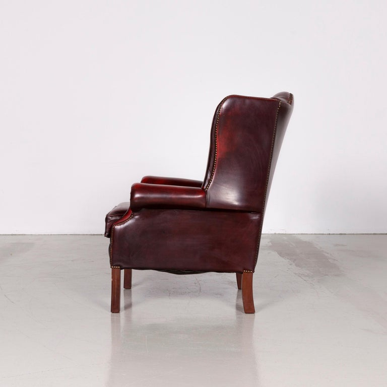 Centurion Chesterfield Leather Armchair Footstool Set Red Vintage 5