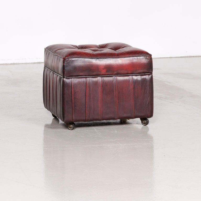 Centurion Chesterfield Leather Armchair Footstool Set Red Vintage 6