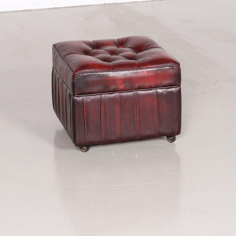 Centurion Chesterfield Leather Armchair Footstool Set Red Vintage 7