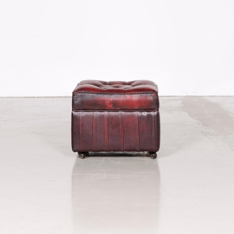 Centurion Chesterfield Leather Armchair Footstool Set Red Vintage 8
