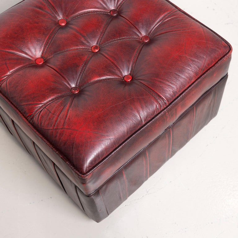 Centurion Chesterfield Leather Armchair Footstool Set Red Vintage 9