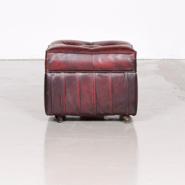 Centurion Chesterfield Leather Armchair Footstool Set Red Vintage 10