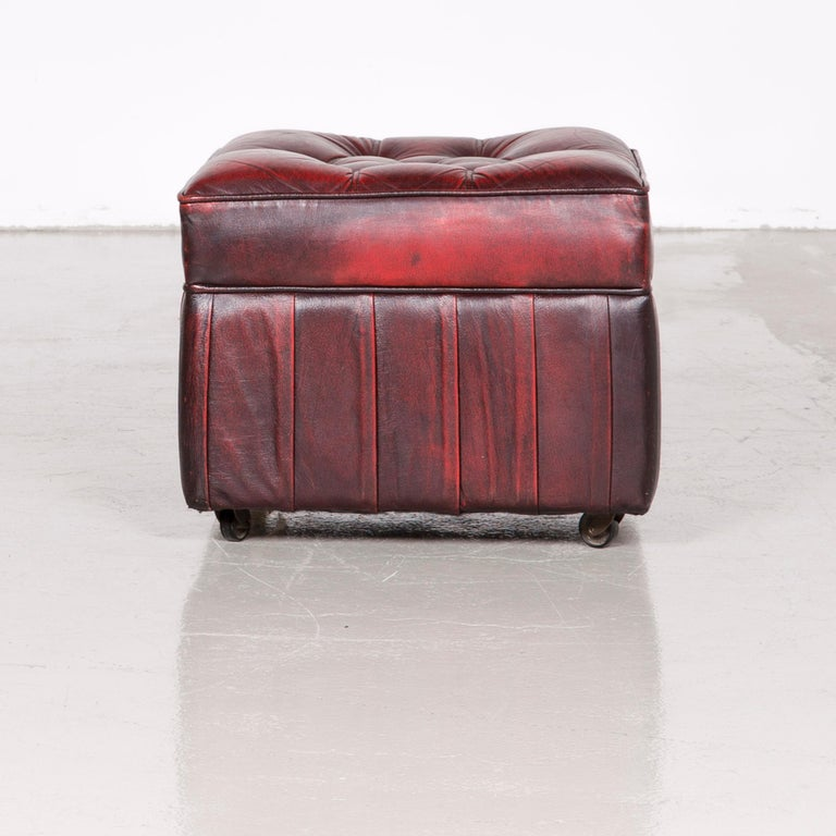 Centurion Chesterfield Leather Armchair Footstool Set Red Vintage 11