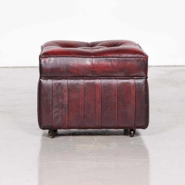 Centurion Chesterfield Leather Armchair Footstool Set Red Vintage 12