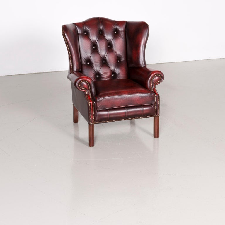 British Centurion Chesterfield Leather Armchair Footstool Set Red Vintage