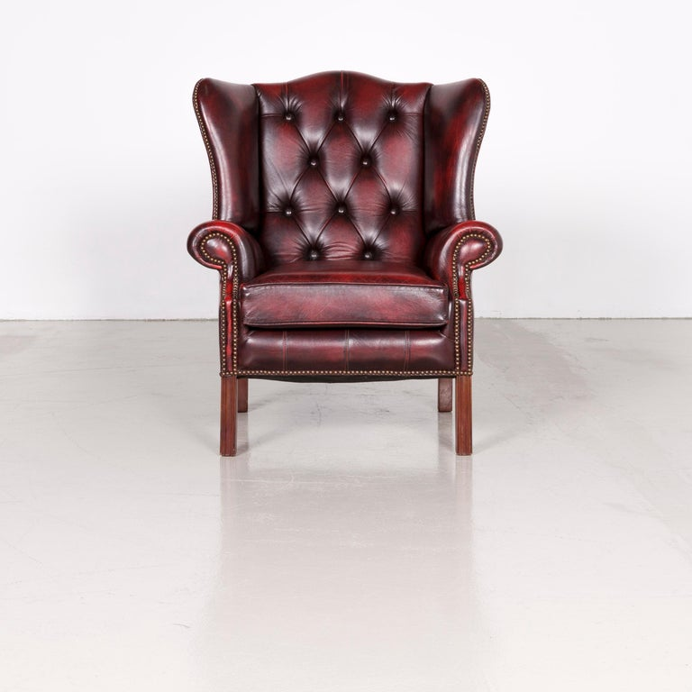 Centurion Chesterfield Leather Armchair Footstool Set Red Vintage In Good Condition In Cologne, DE