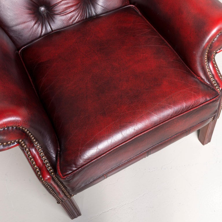 Contemporary Centurion Chesterfield Leather Armchair Footstool Set Red Vintage