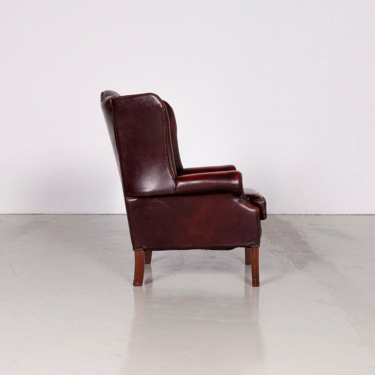 Centurion Chesterfield Leather Armchair Footstool Set Red Vintage 3