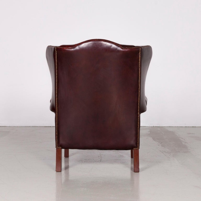 Centurion Chesterfield Leather Armchair Footstool Set Red Vintage 4