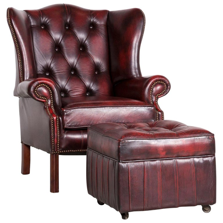 Centurion Chesterfield Leather Armchair Footstool Set Red Vintage