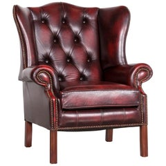 Centurion Chesterfield Leather Armchair Red Vintage