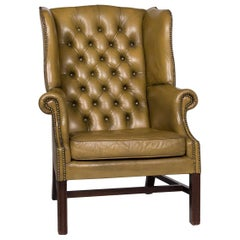 Centurion Leather Armchair Olive Green Chesterfield Retro