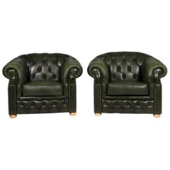 Centurion Leather Armchair Set Chesterfield Green