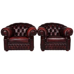 Centurion Leather Armchair Set Red
