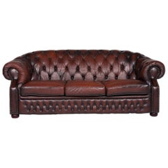Centurion Leather Sofa Brown Three-Seat Chesterfield