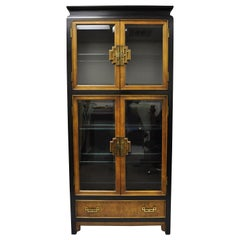 Century Chin Hua Burl Wood China Display Cabinet Chinoiserie Oriental Curio