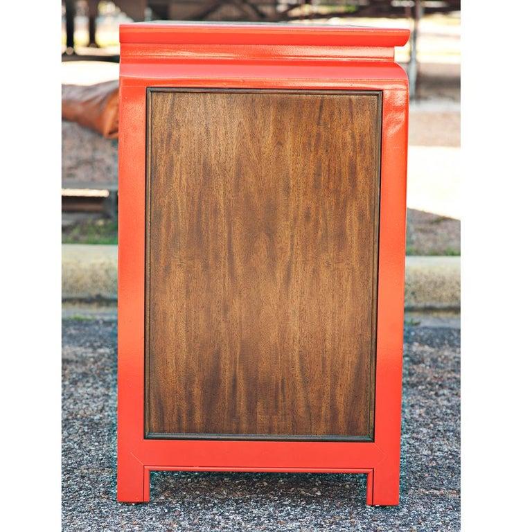 American Century Chin Hua Burled Ash And Orange Lacquer Dresser