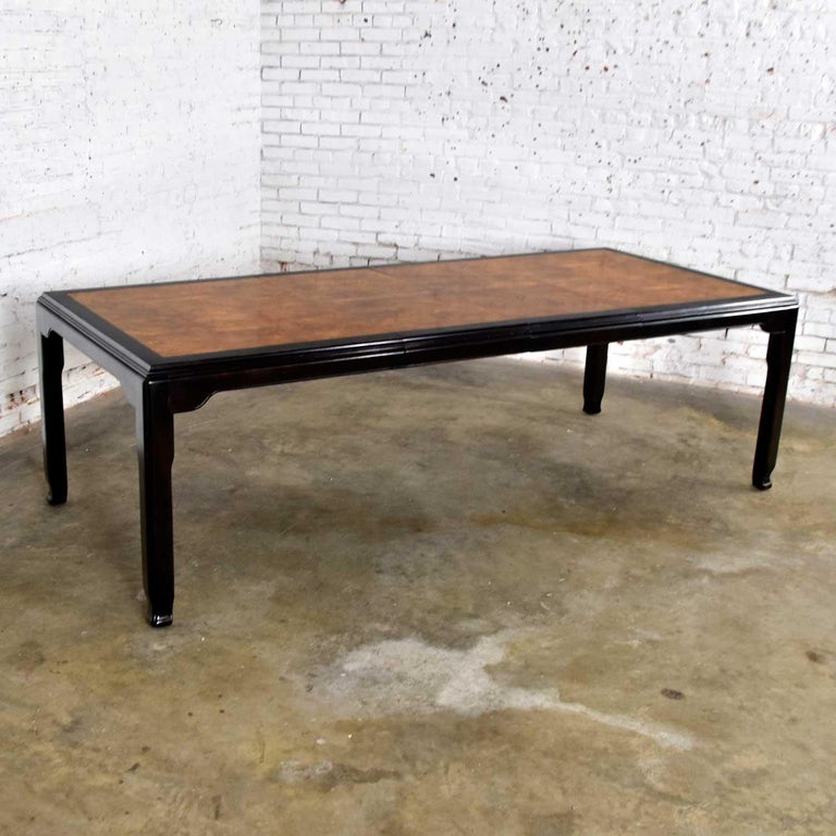 Wood Century Chinoiserie Hollywood Regency Chin Hua Dining Table by Raymond K. Sobota For Sale