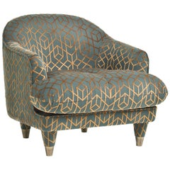 Century/Club Upholstered Armchair in Velvet with Geometric Motifs