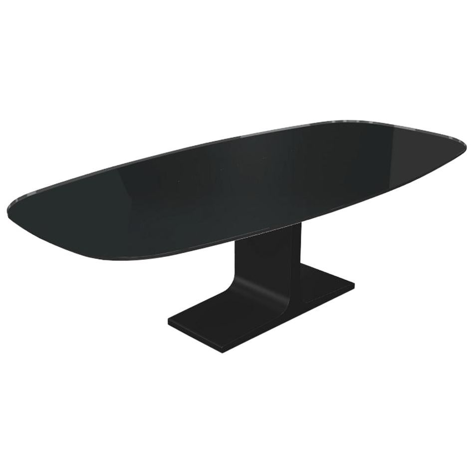 Century, Dining Table Black Glass Top on Metal Base, Made in Italy