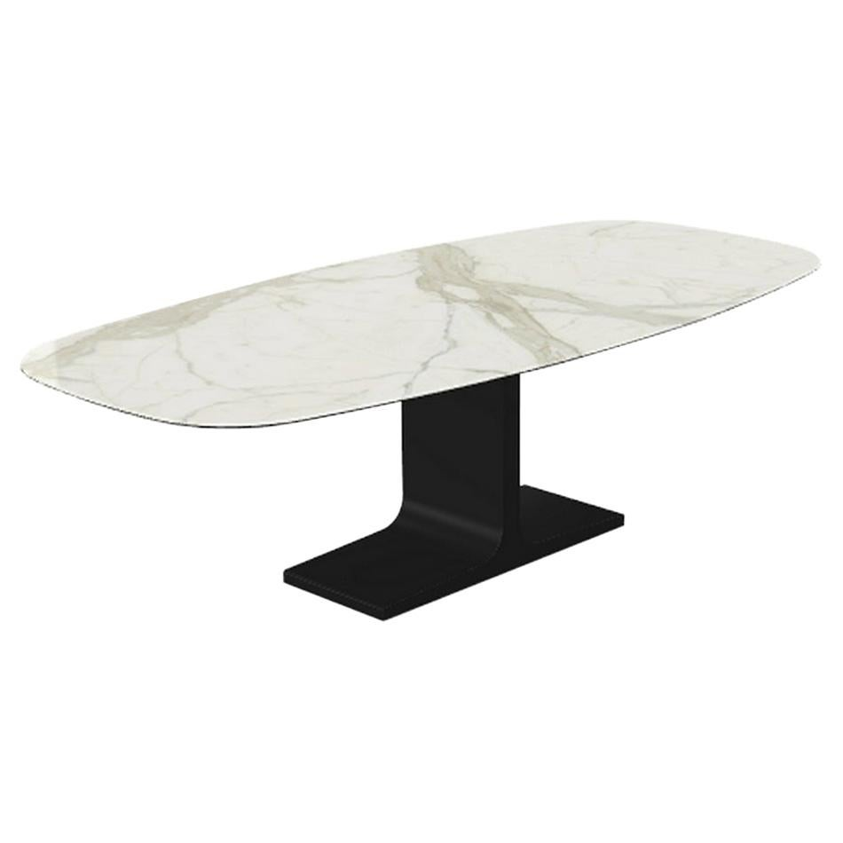 Century, Dining Table Calacatta Ceramic Top on Metal Base, Made in Italy