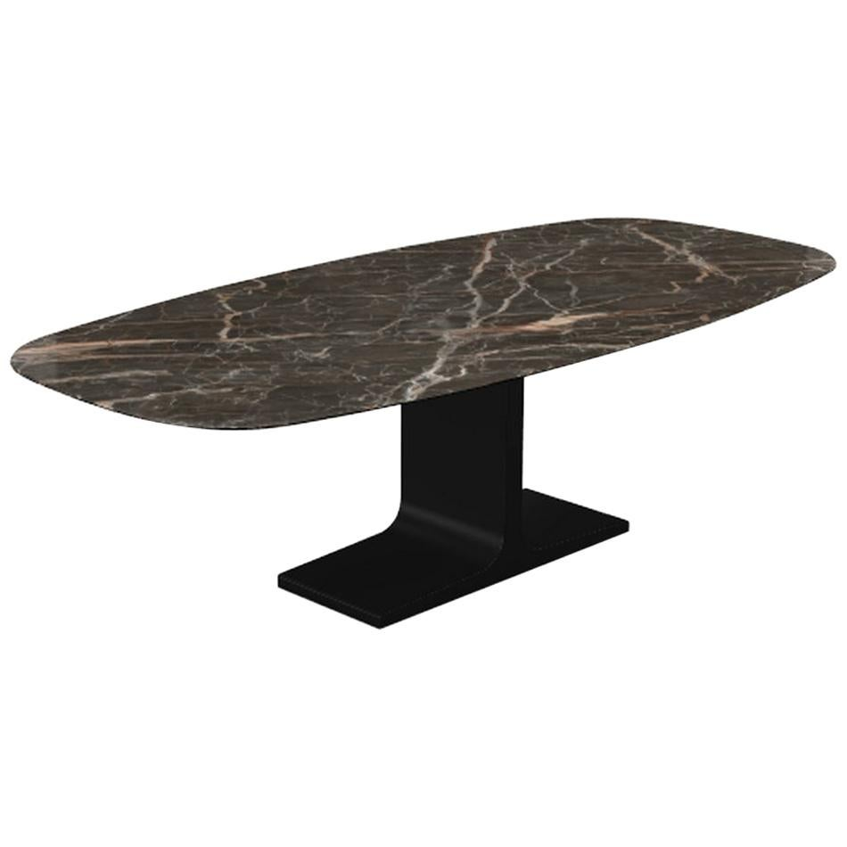 Century, Dining Table Emperador Ceramic Top on Metal Base, Made in Italy
