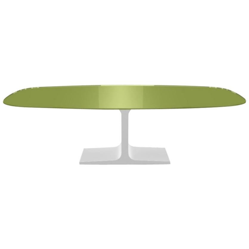 Century, Dining Table Green Glass Top on Metal Base, Made in Italy
