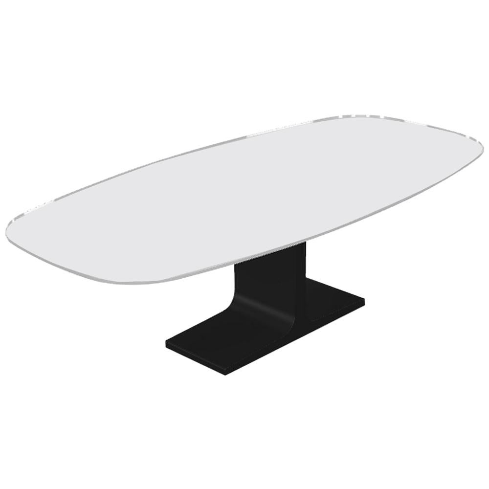 Century, Dining Table Grey Glass Top on Metal Base, Made in Italy