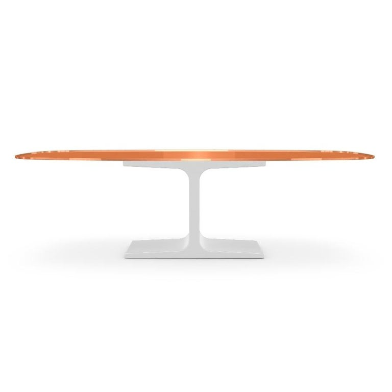 Modern Century, Dining Table Orange Glass Top on Metal Base, Made in Italy For Sale
