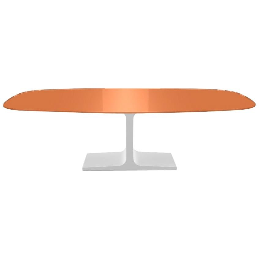 Century, Dining Table Orange Glass Top on Metal Base, Made in Italy