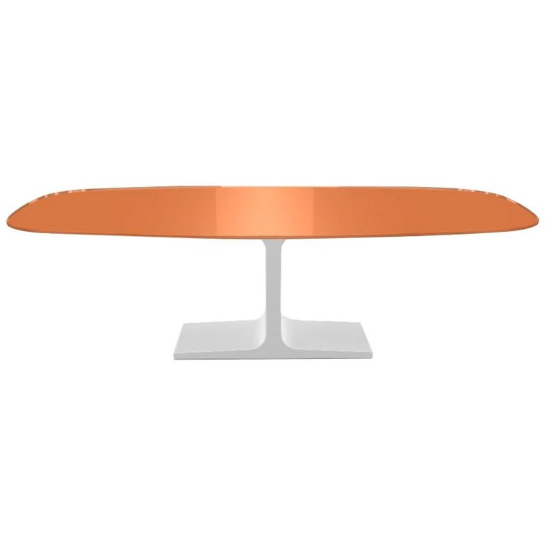 Century, Dining Table Orange Glass Top on Metal Base, Made in Italy For Sale
