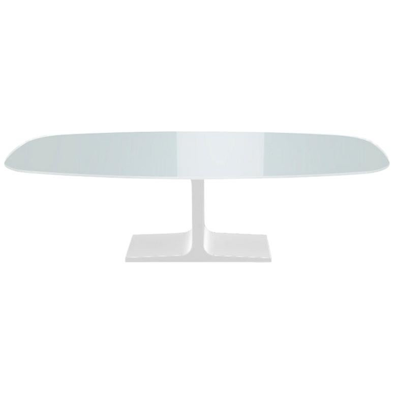 Century, Dining Table White Glass Top on Metal Base, Made in Italy