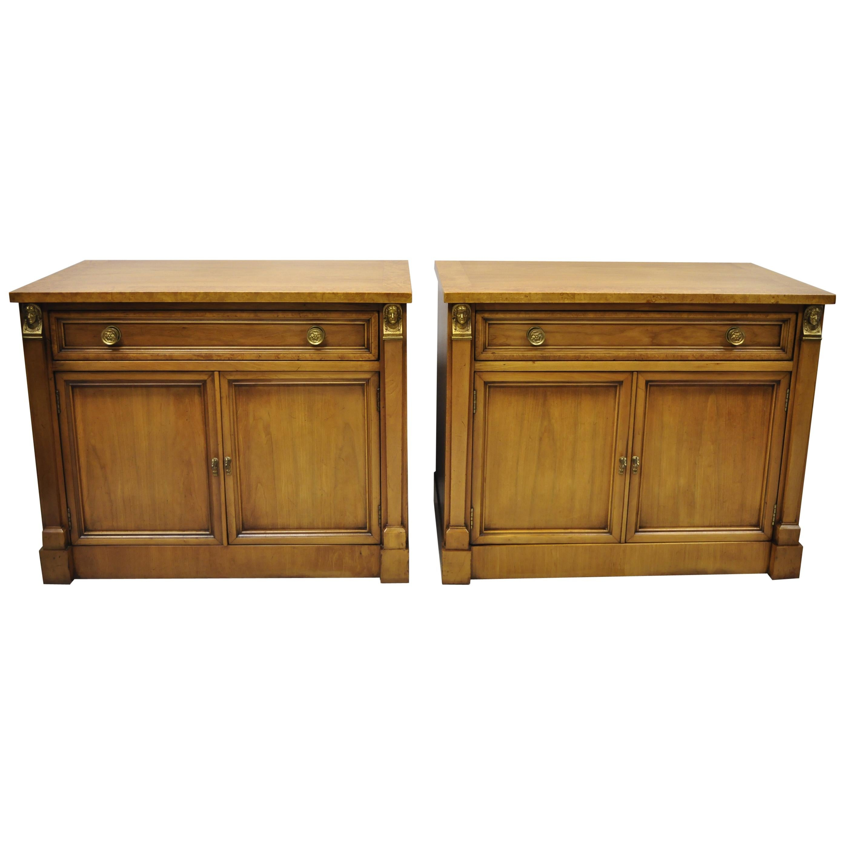 Century French Empire Neoclassical Figural Banded Burl Wood Nightstands, a Pair