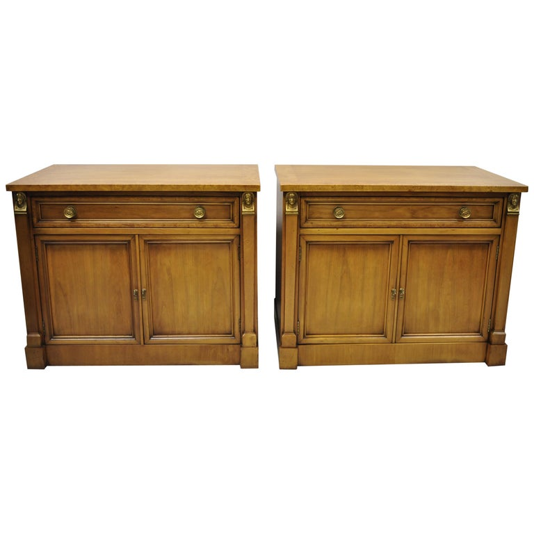 Century French Empire Neoclassical Figural Banded Burl Wood Nightstands, a Pair For Sale
