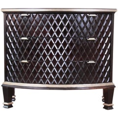 Century Furniture Art Deco Sculpted Diamond Black Lacquered Three-Drawer Chest