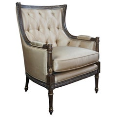 Century Furniture Beige Tufted Silk Wingback Armchair Louis XV French Style