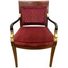 Century Furniture Biedermeier Burgundy Velvet Chair Armchair