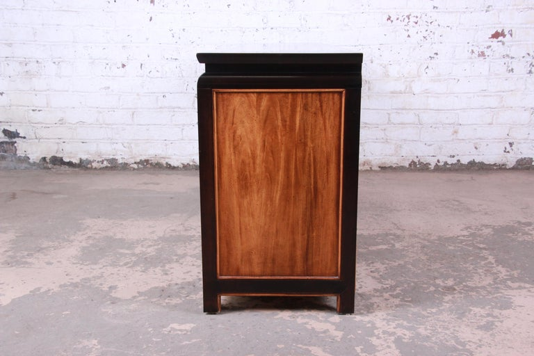 Century Furniture Black Lacquer and Burl Wood Chinoiserie ...