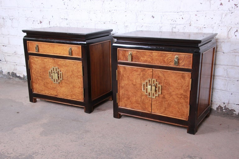 buy online fd4ce 5022d Century Furniture Black Lacquer and Burl Wood Chinoiserie Nightstands, Pair