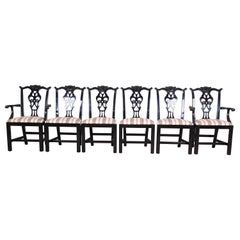Century Furniture Black Lacquered Chippendale Style Dining Chairs, Set of Six