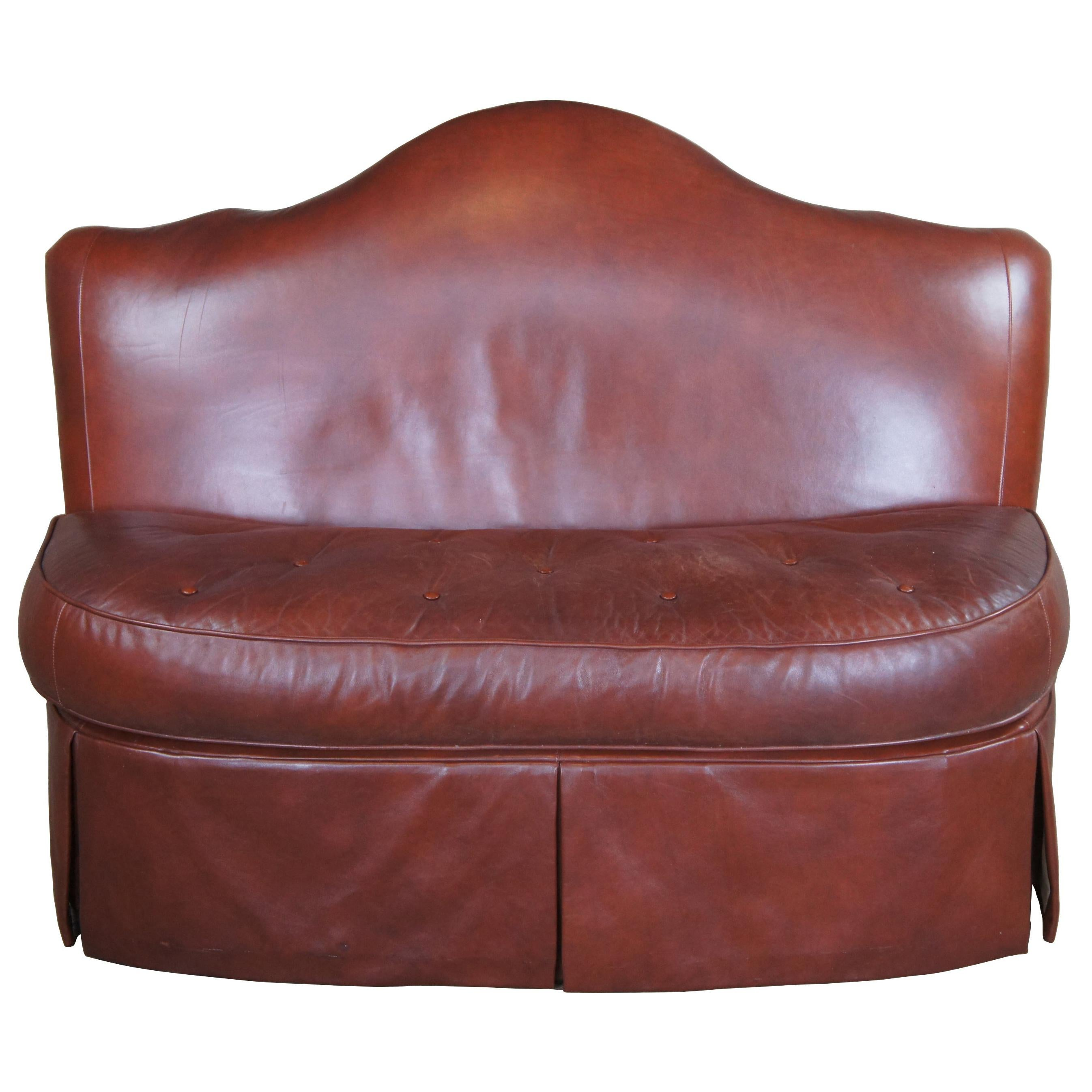 Century Furniture Brown Leather Tufted Camelback Banquette Bench Love Seat