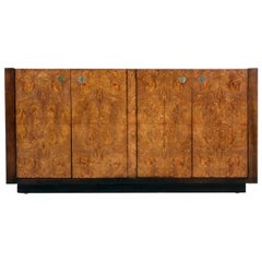 Century Furniture Campaign Style Brass Accent Burl Wood Credenza Cabinet