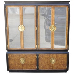 Century Furniture Chin Hua Burl Wood Oriental China Display Cabinet Hutch