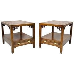 Century Furniture Chinoiserie Fretwork Wooden Side Lamp End Tables, a Pair