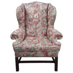 Century Furniture Chippendale Style Floral Wingback Armchair with Nailhead Trim