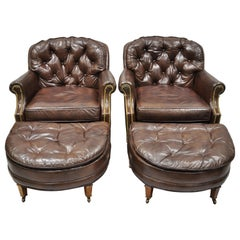 Century Furniture Co Brown Leather Chesterfield Club Lounge Chairs Ottomans Pair