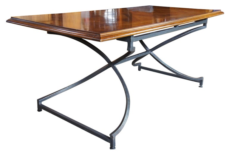Century Furniture Giotto Work Table Walnut Finish Iron Base Dining Console Hall In Good Condition For Sale In Dayton, OH