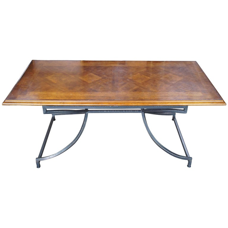 Century Furniture Giotto Work Table Walnut Finish Iron Base Dining Console Hall For Sale