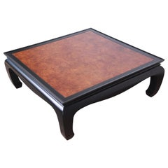 Century Furniture Hollywood Regency Black Lacquer and Burl Coffee Table, 1970s