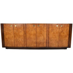 Century Furniture Hollywood Regency Campaign Style Burlwood Credenza, circa 1970